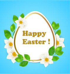 easter card with flowers and leaves vector image