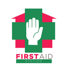 first aid station promotional logotype with palm vector image vector image