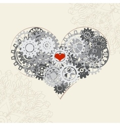 heart with gears background for your vector image vector image