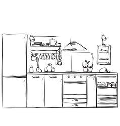 kitchen interior drawing furniture sketch vector image vector image