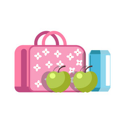 school lunch in girlish briefcase with flowers and vector image