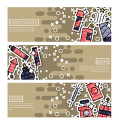 set of horizontal banners about pyrotechnics vector image