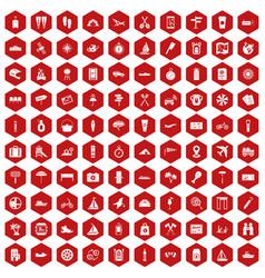 100 journey icons hexagon red vector