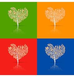 Abstract Heart-Shaped Tree Set vector image