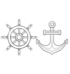 Anchor and steering wheel hand drawn sketch vector