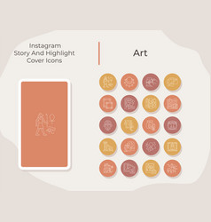 Art social media story and highlight cover icons vector