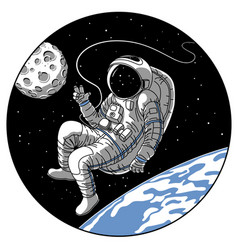 Astronaut or cosmonaut in open space sketch vector