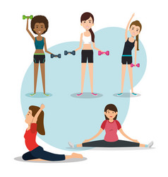 Athletic people practicing exercise characters vector
