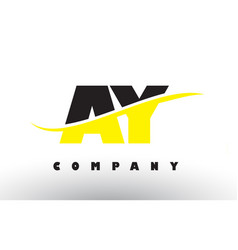 Ay a y black and yellow letter logo with swoosh vector