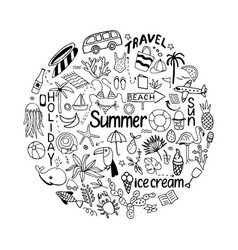 background in circle with summer set of isolated vector image
