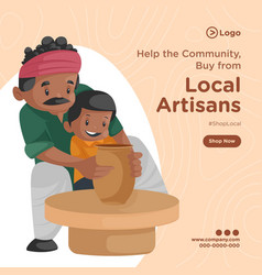 Banner design local artisans vector