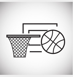 basketball ball with basket thin line on white vector image