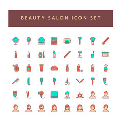beauty salon icons set with filled outline style vector image