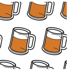 beer in mug with foam alcohol drink seamless vector image