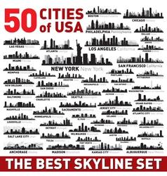 Best city skyline silhouettes set vector