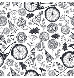 bicycle seamless pattern with trees vector image