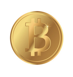 bitcoin blockchain cryptocurrency gold coin icon vector image