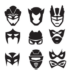Black silhouette of superheroes masks vector