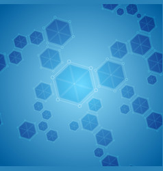 blue abstract hexagon molecules tech background vector image