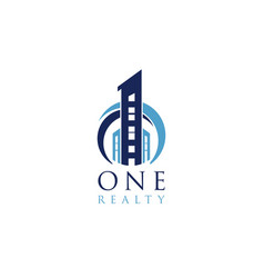 blue one realty building logo symbol vector image