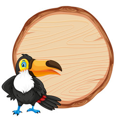 Board template with cute toucan bird on white vector