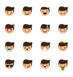 Boy emoticons collection cute kid emoji vector