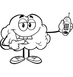 brain with a mobile phone vector image