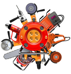 cable reel with power tools vector image vector image