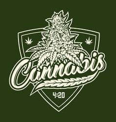 Cannabis monochrome emblem vector