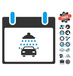 Car Shower Calendar Day Icon With Bonus vector
