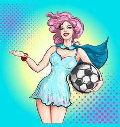 Cheerleader pop art comic style beautiful girl vector
