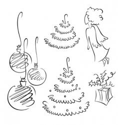 Christmas contour set vector image