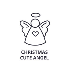 Christmas cute angel line icon outline sign vector