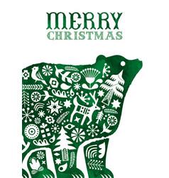 christmas watercolor folk vintage bear card vector image
