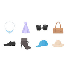 clothes and accessories icons in set collection vector image
