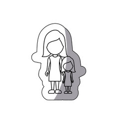 contour woman with her daughter icon vector image