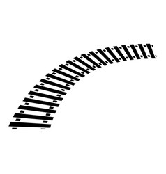 Curving train track rail track silhouette isolated vector