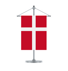 danish flag on the metallic cross pole vector image