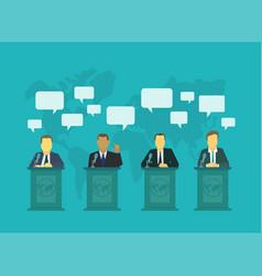 Deputies dispute on rostrum tribune dialog vector