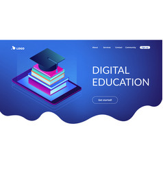 digital education isometric 3d landing page vector image