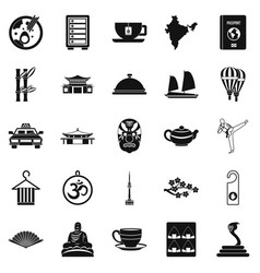 Dish icons set simple style vector