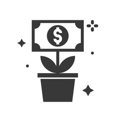 dolla bill tree icon business and investment vector image