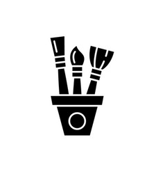 drawing set black icon sign on isolated vector image