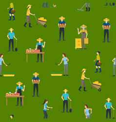 farmers work 3d seamless pattern background vector image