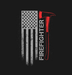 fire fighter axe with american flag grunge vector image