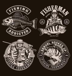 Fishing vintage designs vector