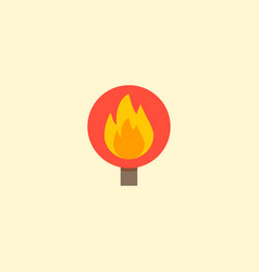 Flame warning icon flat element vector