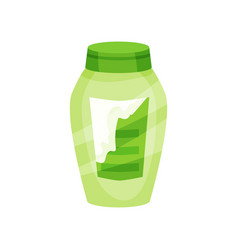 Flat icon of green shampoo bottle with torn vector