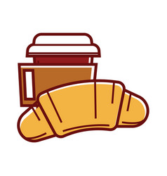 fresh soft croissant and hot coffee in paper cup vector image