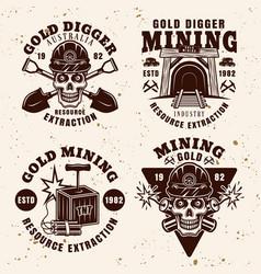Goldminer company industry set vintage emblems vector
